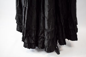 1880s Victorian Mourning Polished Cotton & Silk Petticoat