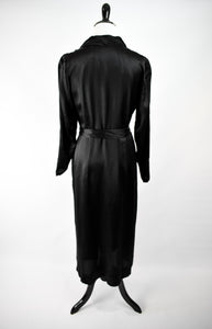 1930s Black Silk Collared Midi Dress