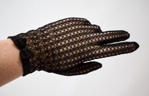 Vintage Black Sheer Bow Gloves