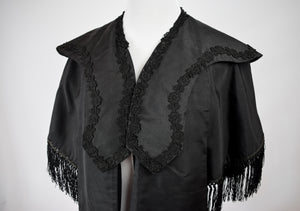 1890s Victorian Mourning Fringe Mantle Cape