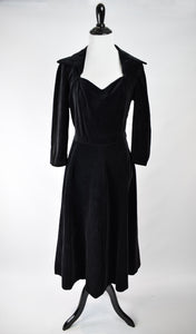 1950s Black Cotton Velveteen Dress