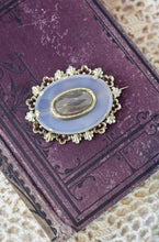 1870s Victorian Mourning 9K Gold & Chalcedony Hair Pin
