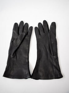 1950s Black Leather & Lace Gloves