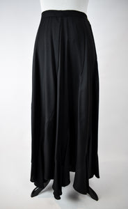 1990s Black Bias-Cut Ruffle Hem Maxi Skirt