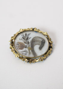 1870s Victorian Mourning Prince of Wales Hair Brooch