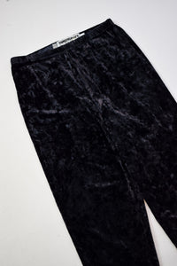 1980s Black Crushed Velvet Leggings