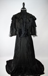 1880s Victorian Mourning Black Silk Bodice & Skirt Set