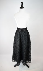 1980s Gunne Sax Black Lace Midi Skirt