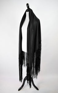 1930s Black Silk Piano Shawl