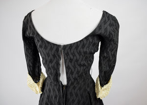 1950s Black Eyelet Lace Dress