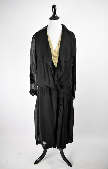 1910s Sheer Black Dropwaist Gown