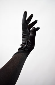 Vintage Style Black Satin Evening Gloves