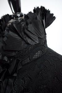 1890s Victorian Mourning Cutwork Silk Cape