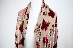 1990s Dusty Red & Pink Velvet Burnout Shawl