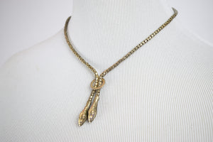 1920s Gold Gilt & Metal Twin Snake Necklace
