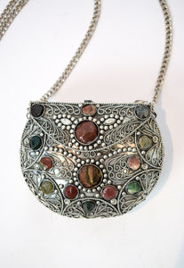 Vintage Metal & Stone Crossbody Bag