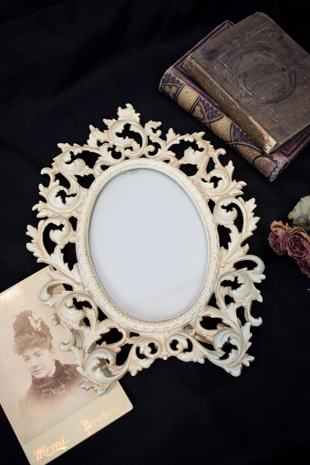 Vintage Baroque Cast Iron Photo Frame