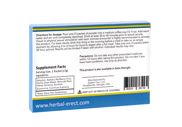 Herbal Erect - Regular Strength (1 pack) - FREE sample - Only Pay $5 for Shipping - SYSTEM FOUR CORPORATION
