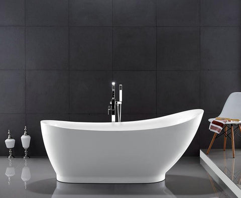 "71"" Slipper Style Acrylic Soaking Bath Tub - WE6512"