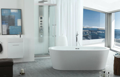 "67"" Freestanding Oval Shaped White Bathtub - WE6841"
