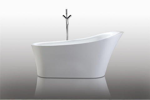 "67"" Freestanding Slipper White Soaking Bath Tub - WE6843"