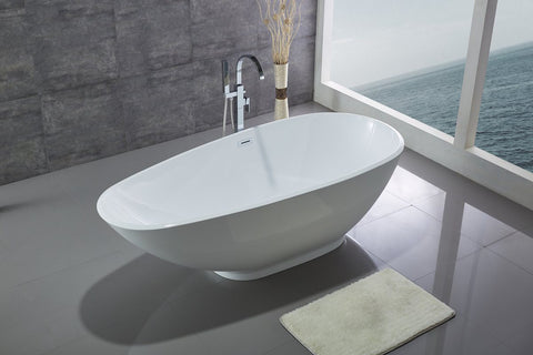 "75"" Soaking Bath Tub in White Acrylic - WE6848"