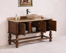 "59"" SOLID WOOD SINK VANITY WITH TRAVERTINE TOP AND BOWL"
