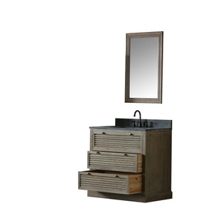 "37"" SOLID ELM SINK VANITY WITH FAUCET AND 24"" MIRROR"