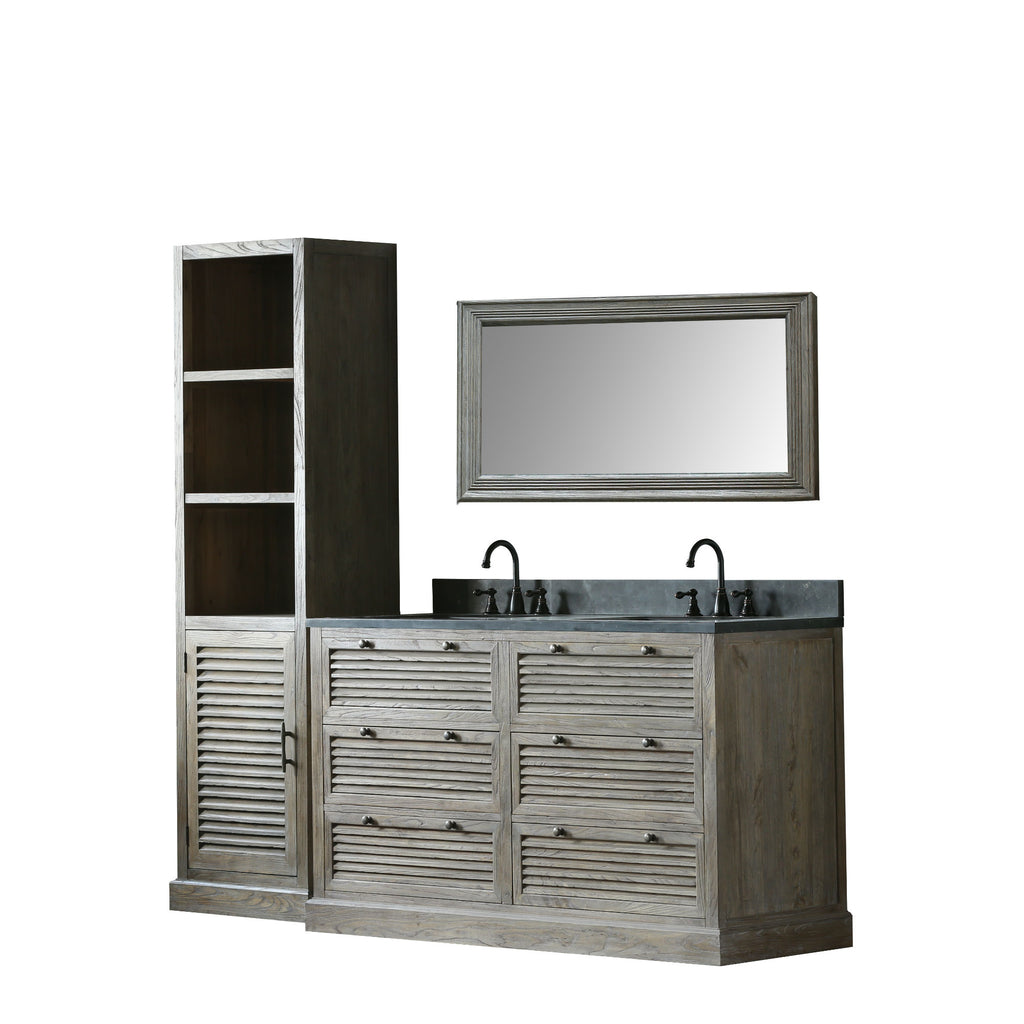 "61"" SOLID ELM SINK VANITY WITH FAUCET AND 47.5"" MIRROR"