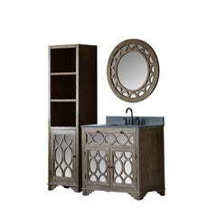 "36"" SOLID ELM SINK VANITY WITH FAUCET AND 31.5"" ROUND MIRROR"