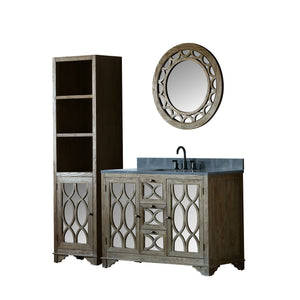 "48"" SOLID ELM SINK VANITY WITH FAUCET AND 31.5"" ROUND MIRROR"