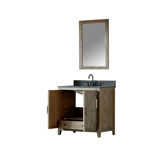 "36"" SOLID ELM SINK VANITY WITH FAUCET AND 24"" MIRROR"