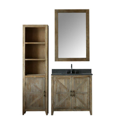 "36"" SOLID ELM SINK VANITY WITH FAUCET AND MIRROR"