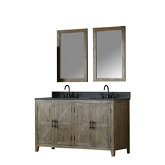 "60"" SOLID ELM SINK VANITY WITH FAUCET AND 2 of 24"" MIRROR"
