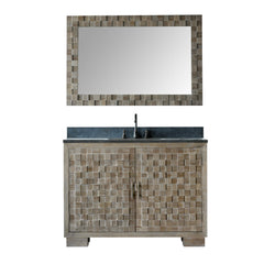"48"" SOLID ELM SINK VANITY WITH FAUCET AND 47.5"" RECTANGLE MIRROR"