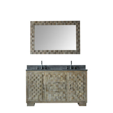 "60"" SOLID ELM SINK VANITY WITH FAUCET AND 47.5"" MIRROR"