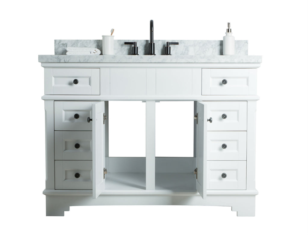 "48"" SOLID WOOD SINK VANITY WITH MIRROR AND FAUCET"