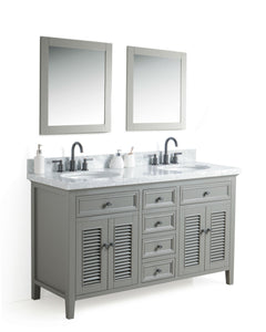 "60"" SOLID WOOD SINK VANITY WITH MIRROR AND FAUCET"