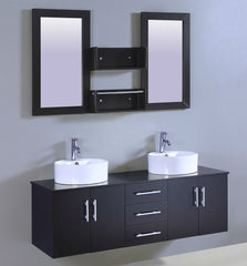 "59"" Espresso with Ceramic Basin SINK VANITY  WITH MIRROR"