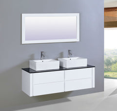 "59"" Whitewith Tempered glass top SINK VANITY  WITH MIRROR"