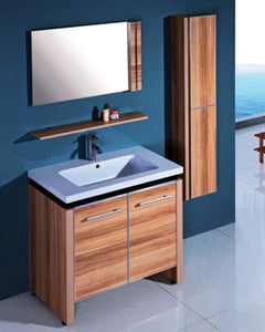 "32"" Desert Sand Sink vanity with mirror and side cabinet"