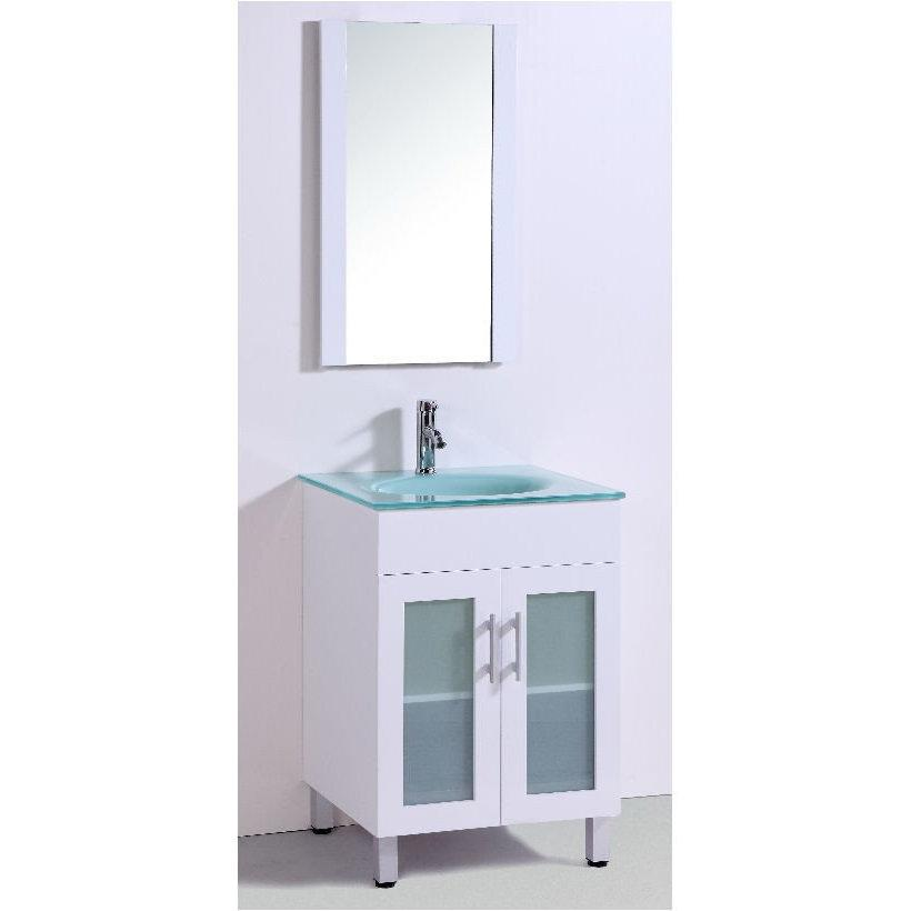"24"" White single SINK VANITY WITH MIRROR"