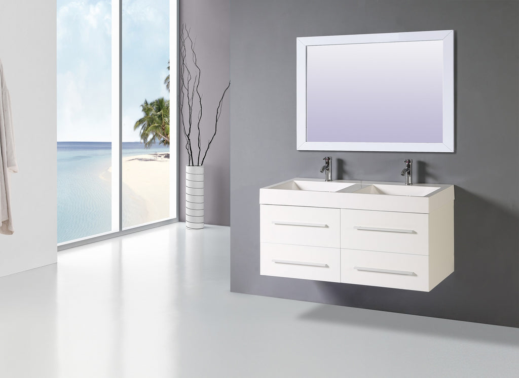 "48"" White single SINK VANITY WITH MIRROR"
