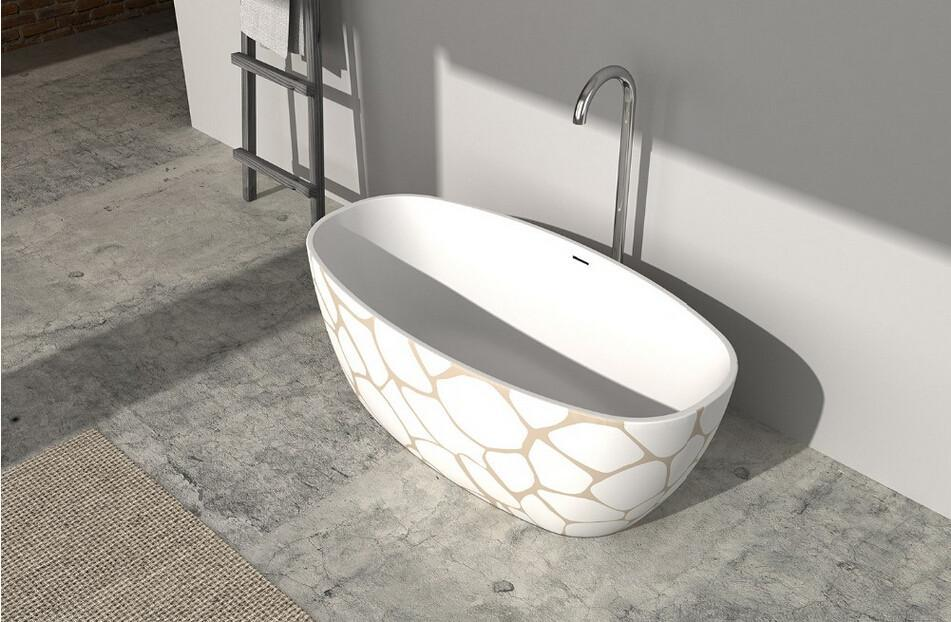1830x800x550mm Solid Surface Corian Oval Freestanding Bathtub