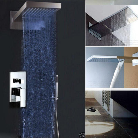 Chrome LED Color Changing Shower Faucet Wall Mount Rainfall & Waterfall Shower Head