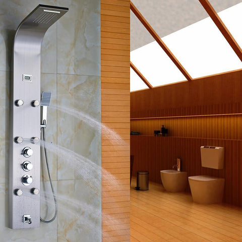 Brushed Nickel Thermostatic Mixer Shower Column Body Massage Sprayer with Temperature Display Bathroom Shower Panel