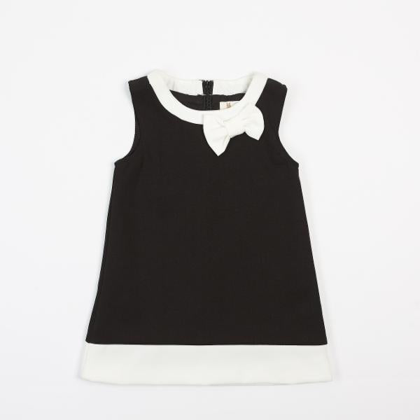 A-Line Dress with Contrast Piping and Bow - Black