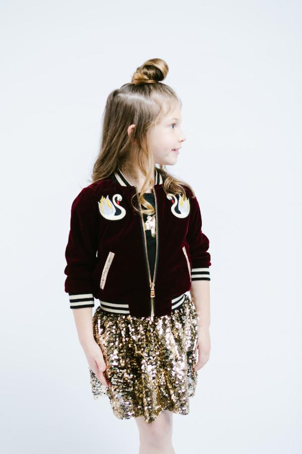 Swan Embroidery Patch Velvet Bomber Jacket - Maroon