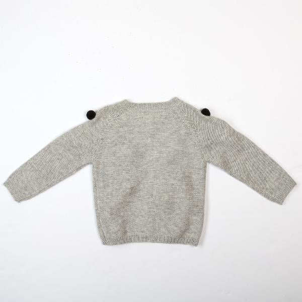 Allover Pom Poms Wooly Cardigan - Grey/Black