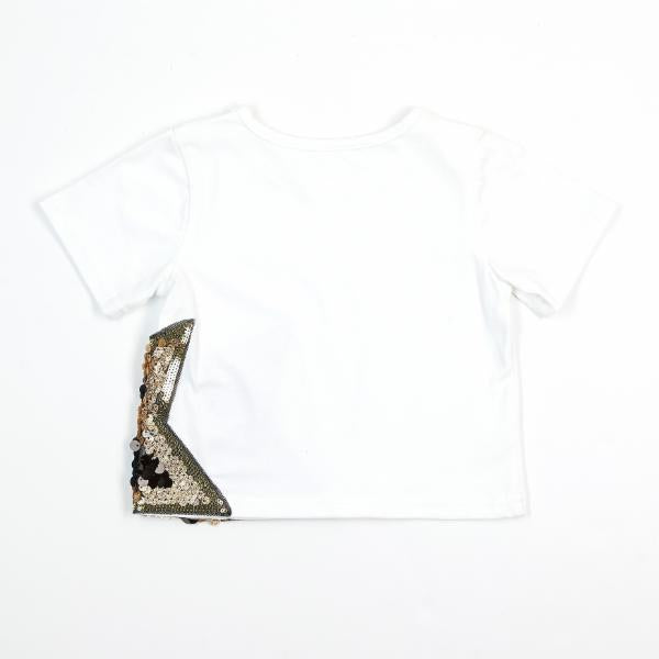 Star Sequin Patch Tee - White